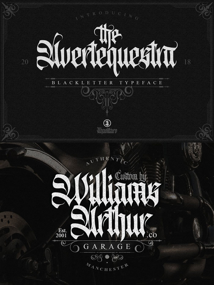 Avertequestra-Typeface-with-Blackletter