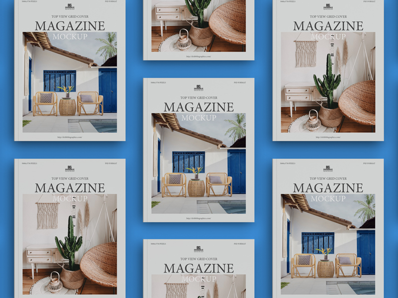 Free-Top-View-Grid-Cover-Magazine-Mockup-600