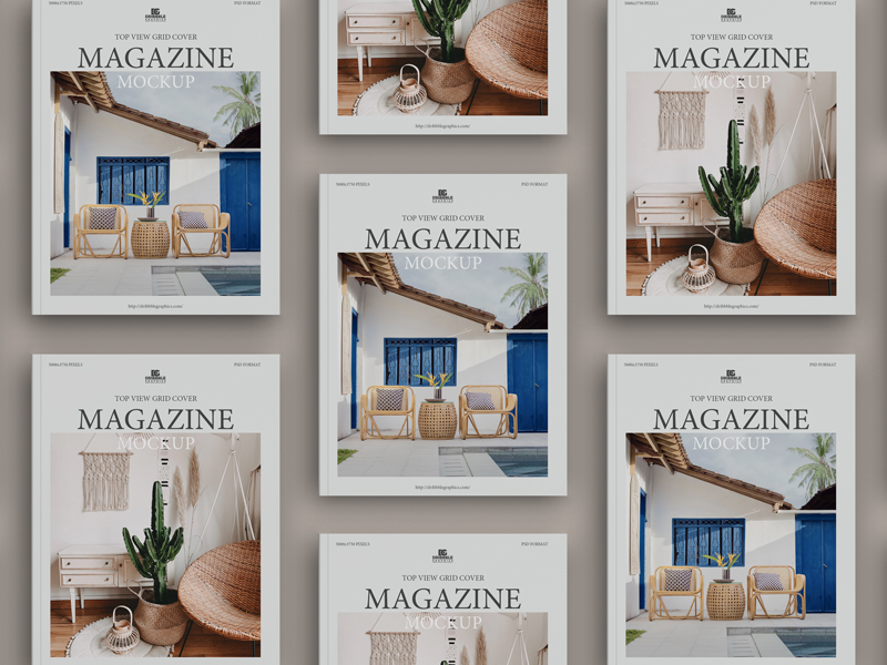 Free-Top-View-Grid-Cover-Magazine-Mockup