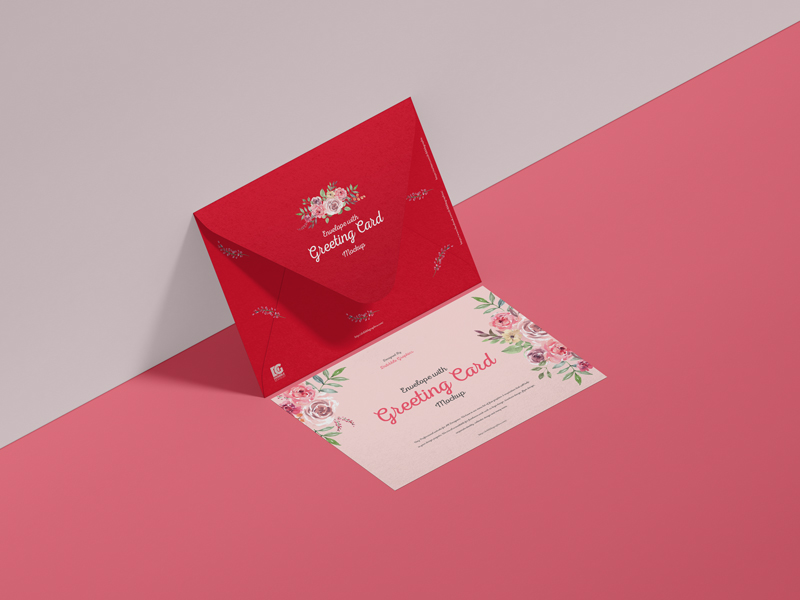 Free-Envelope-With-Greeting-Card-Mockup