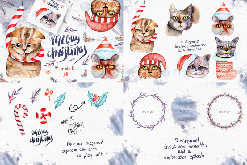 Meowy-Christmas-Watercolor