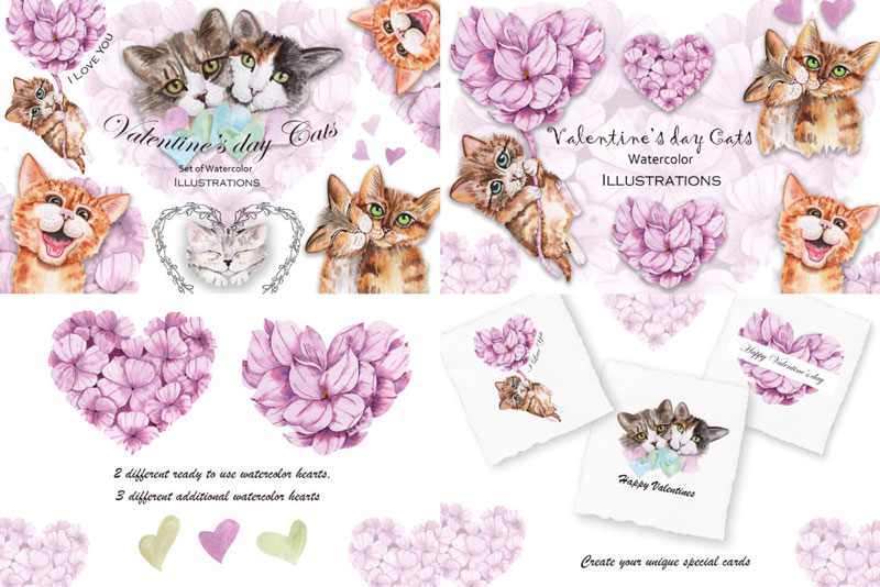 Valentine's-Day-Watercolor-Cats