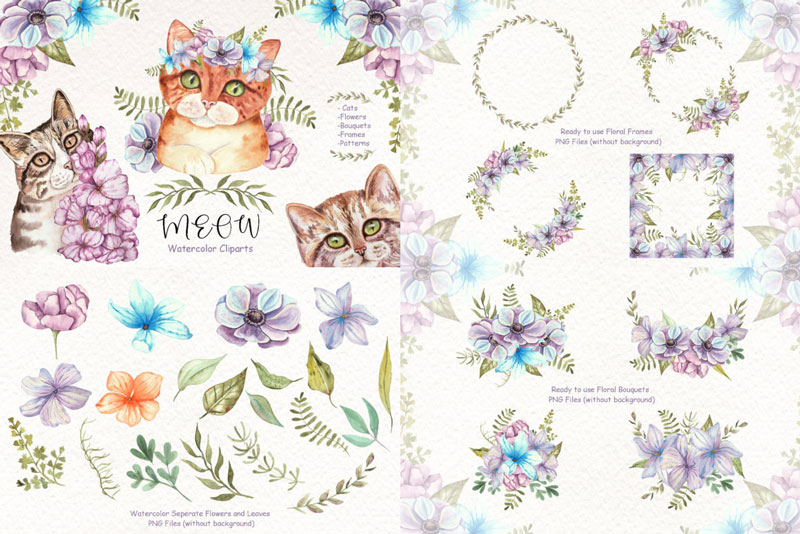 Watercolor-Cats-and-Flowers-Graphic