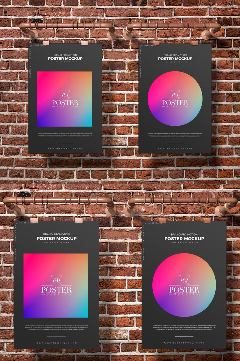 Free-Bricks-Wall-Hanging-Poster-Mockup