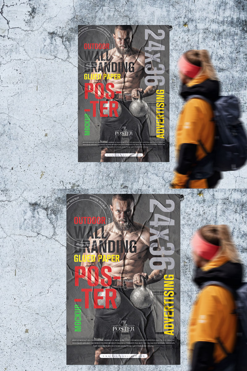 Free-Outdoor-Wall-Glued-Poster-Mockup