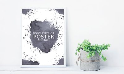 Free-Artistic-Poster-Frame-With-Beautiful-Plants-Pot-Mockup-2018