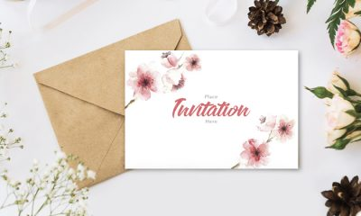 Free-Stylish-Branding-With-Flowers-Invitation-Mockup-PSD-300