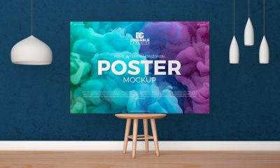 Free-Horizontal-Poster-Canvas-Mockup-on-Wooden-Chair-300