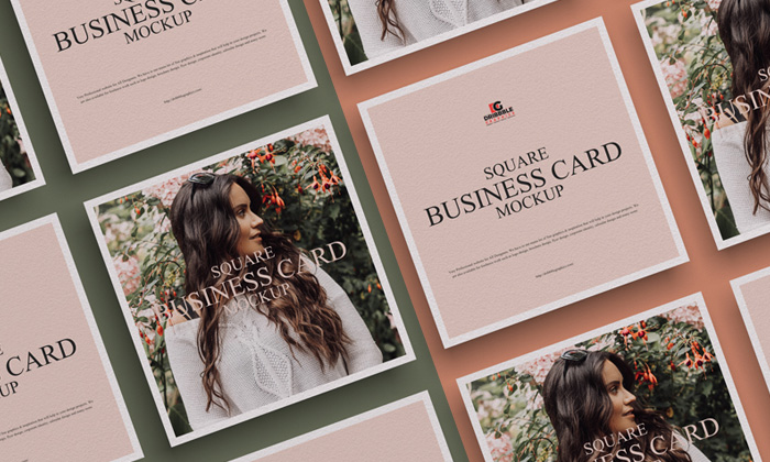 Free Square Business Card Mockup Psd Dribbble Graphics